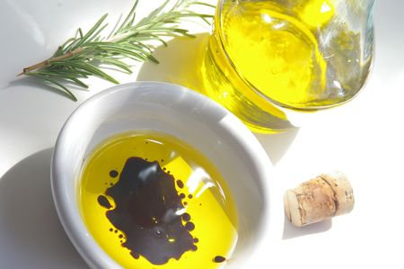 balsamic: Olive oil with balsamic vinegar and rosemary Stock Photo