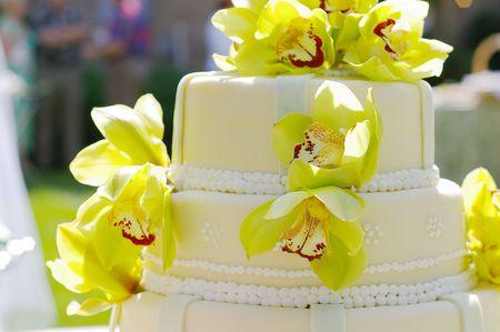 Wedding cake with flowers Imagens - 249488