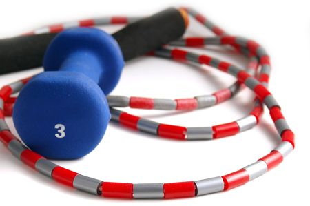 weight and jump- rope Stock Photo