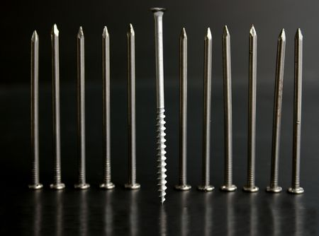 standout: One standout screw Stock Photo