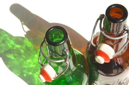Two beer bottles from above