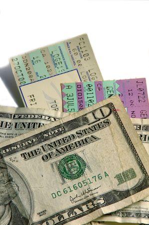 ticket stubs: ticket stubs and cash