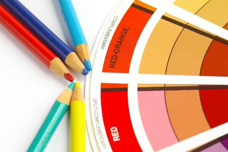 sharpen: Color wheel and pencils Stock Photo