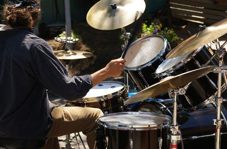 cymbal: Musician playing drums