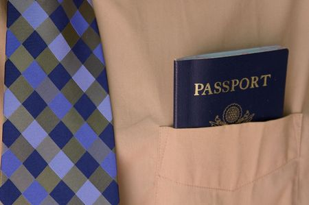 Business man and passport Stock Photo