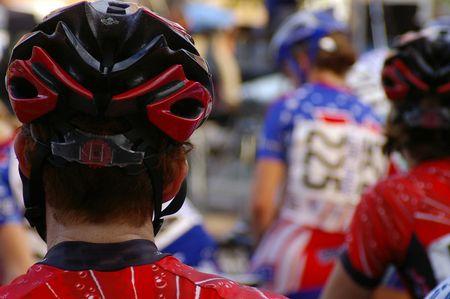 Bike racers Stock Photo