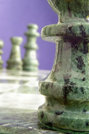Chess pieces near and far
