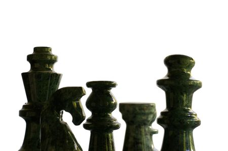 Chess pieces in silhouette