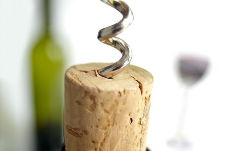 corkscrew and bottle
