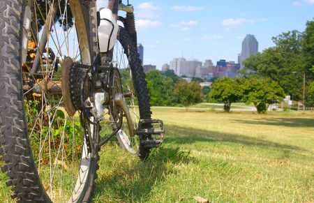Mountain bike in a city park Stock Photo
