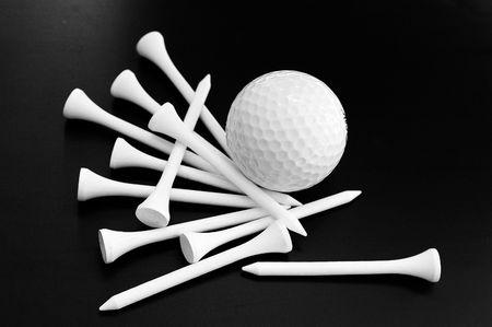 Golf ball and tees Stock Photo