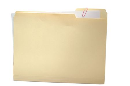 Folder with attached paper on white photo