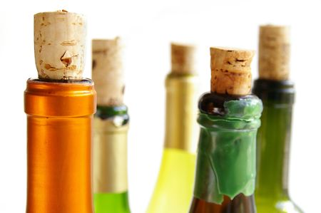 rich flavor: Top of wine bottles with corks