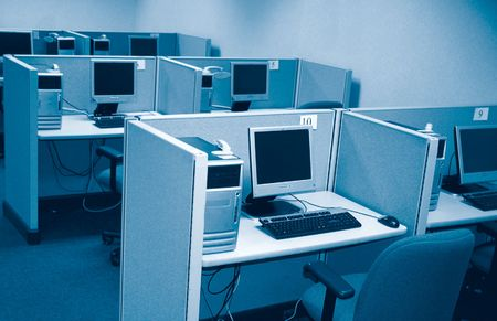 office cubicle: Computer lab Stock Photo