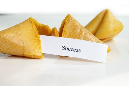 fortune cookie: Success fortune cookie Stock Photo