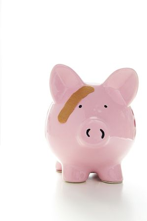 insure: Piggy bank with band-aid. Symbolizes health-care costs