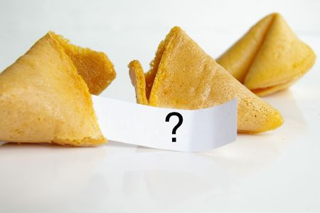 food questions: Question fortune cookie Stock Photo