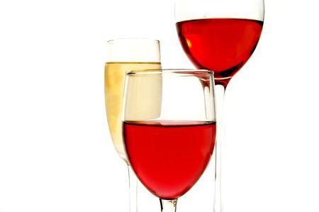 Champagne and wine glasses  on white background Standard-Bild