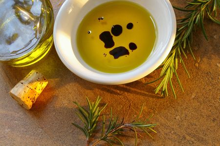 balsamic: Olive oil and balsamic vinegar with rosemary Stock Photo