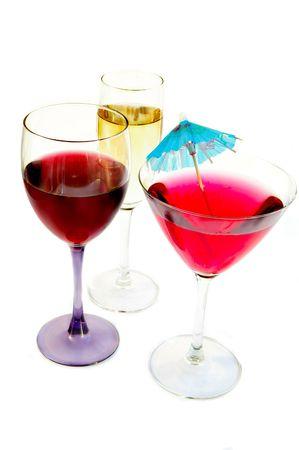 Martini, champagne and wine glasses on white Archivio Fotografico