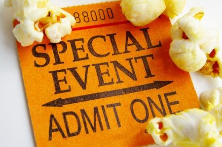 Ticket and popcorn closeup