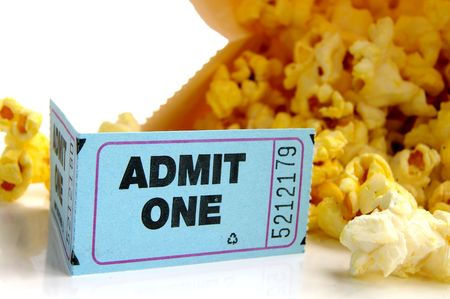 ticket stub and bag of popcorn closeup Stock Photo
