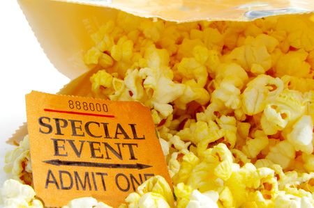 to attend: special eventticket stub and bag of popcorn