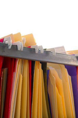 Assorted hanging folder files on white background Stock Photo - 849402