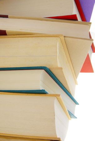 hard cover: Stack of hard cover books on white background Stock Photo