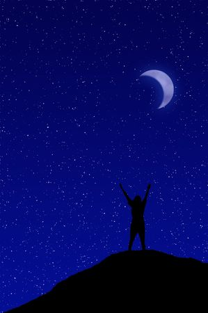 nightime: Person reaching up to the starry night sky
