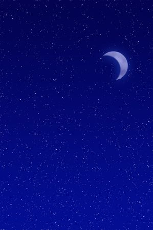 crescent moon: Night sky filled with stars and crescent moon Stock Photo