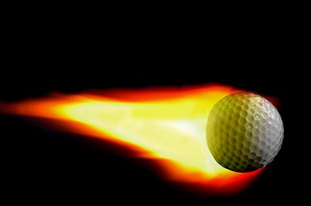 Golf ball with trailing flame on black Stock Photo
