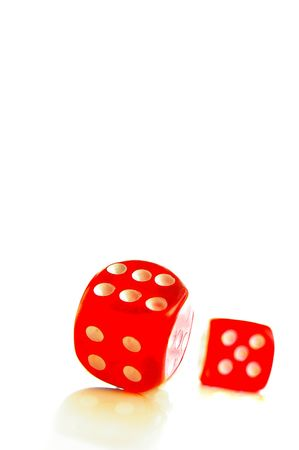odds: Closeup of two red dice on white background