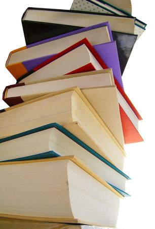 Stack of hardcover books isolated on white Stock Photo - 2147615