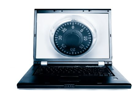 Laptop with a combination lock(computer security) Stock Photo - 2614602