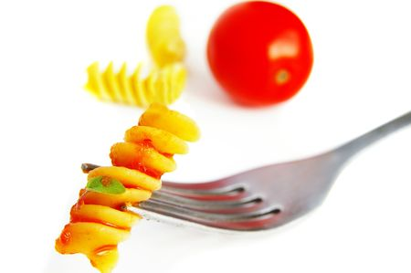 rotini: Closeup de pasta rotini a un tenedor