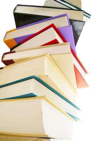 hardcover: Stack of hardcover books isolated on white