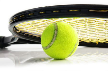 Closeup of a tennis racket and ball, on white photo