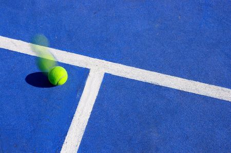 Tennis ball motion, landing inside the line photo