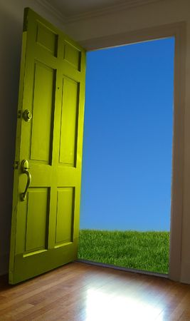 Door opening to green grass and blue sky Stock Photo - 2668365