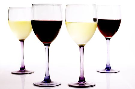 redwine: glasses of red and white wine, on white