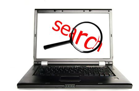 searchengine: Laptop with red search text (web search)