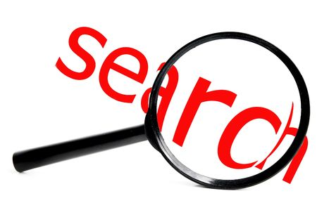 magnifying glass with red serach text, on white Stock Photo - 2745698