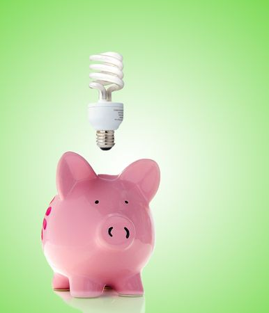 cf: Piggy bank with a CF bulb above (smart energy)