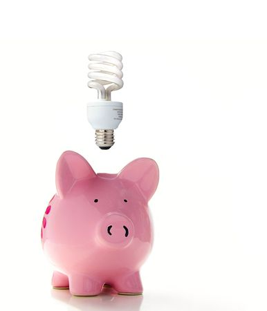 Piggy bank with a CF bulb above (smart energy)