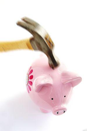 ira: Piggy bank and swinging hammer, on white
