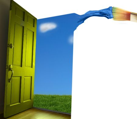 Door opening to  blue sky, with paint brush photo