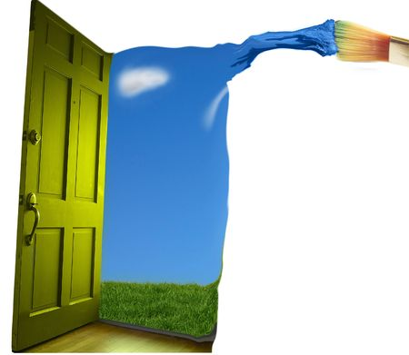 opening door: Door opening to  blue sky, with paint brush