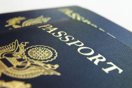 resident: Closeup if American passports, on light background
