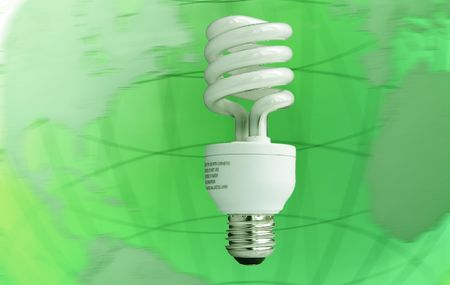 Compact fluorescent light bulb over planet background Stock Photo